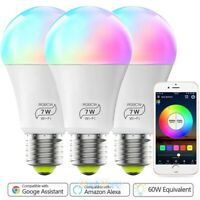3Pack RGBW Dimmable LED WiFi Music Lights Bulb 7W Fits Alexa Google Home & IFTTT