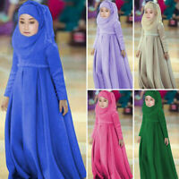 Toddler Baby Girl Ramadan Muslim Abaya Dubai Robe Traditional Clothing Dress DZ