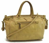 Authentic PRADA Leather 2Way Shoulder Hand Bag Yellow B7542