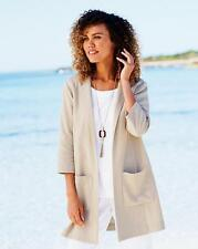 Cotton Traders Longline Linen-blend Jacket Size UK 20 Almond Dh077 FF 07