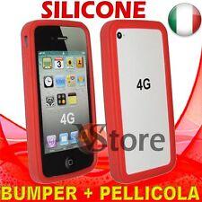 Cover Custodia Bumper Rosso Per APPLE iPhone 4/4G In Silicone + Pellicola