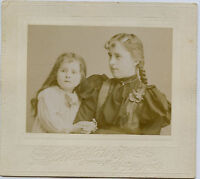 Antique Photo-Very Cute Little Girl w/Long Hair & Older