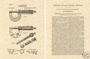 Nous Verni De Starrett Micromètre Estampe Prêt Pour Cadre 1899 Extérieur Micro