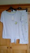 M&S Ladies Blue & White Striped Cotton Top & Cropped Pyjama Bottoms, size 8