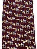 Brooks Brothers Basics Silk Men's Necktie Tie Elephant Print Burgundy
