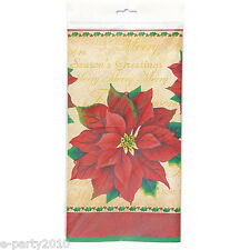 CHRISTMAS Classic Poinsettia PLASTIC TABLE COVER ~ Birthday Party Supplies Cloth