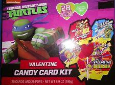 TMNT Teenage Mutant Ninja Turtles Valentines Day Lollipop Candy Card Kit 28 CT