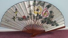 Asian Chinese Paper Fan with bird and flower painting decoration
