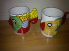 "VIETRI Italy ""FISH-FISH"" Figural Shaped - Set of 2 Mugs"
