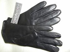 NWT Black Fur Lined Leather Gloves with Tech Touch Compatibility  Size Large