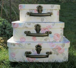 Decorative Clayre & Eef Gift Box Suitcase Box Rose Motif Light 3-er Set
