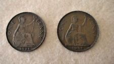 1936 and 1938 Uk Great Britain British One 1 Penny George V and George Vi- Bogo