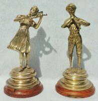 Pair Vintage Brass Bronze Girl Boy Flute Violin Art Sculpture Figurine Statues