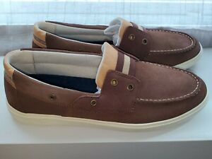 Sperry Top-Sider New Brown & Yellow Suede 2-Eye Boat Shoes Men's Sneakers US 9