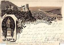 Heidelberg Germany Gruss aus Castle and Monument Antique Postcard J39628