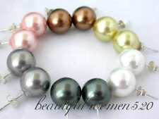z2673 wholesale 6pair 12mm round south sea shell pearl earring Standard silver