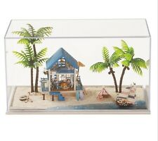 Kits DIY Wooden Dollhouse Beautiful beach Doll House LED Light Furniture toy gif