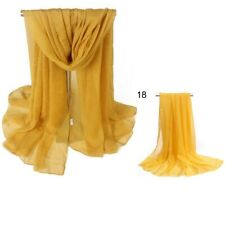2pcs Women Ladies Long Chiffon scarf cover wrap 162cm x 70cm Nylon NEW Mustard
