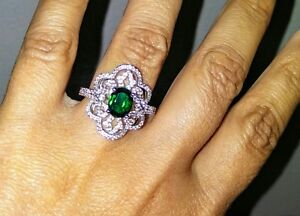 EMERALD &  WHITE SAPPHIRE LAB CREATED RING IN STERLING SILVER, US 7 EU 54