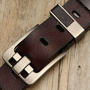 Genuine Leather Mens Belt Classic Pin Buckle Men Dress Waistband Strap For Jeans