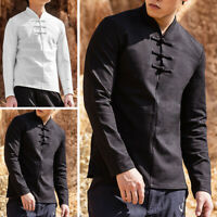 Mens Linen Long Sleeve V-neck Shirt Retro Chinese Causal Slim Fit Blouse Tops UK