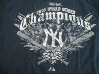 NEW YORK YANKEES VTG 2009 W.S. CHAMPIONS BLUE DISTRESSED LG LONG SLVE TEE SHIRT
