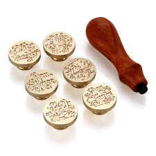 Retro Style Sealing Wax Stamp Set , 1 Handle & 6 Stamps For Sealing Letter Card