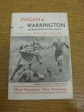 02/01/1961 liga de rugby programa: Wigan V Warrington (plegado, equipo de cambios). Bo