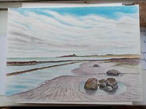 Dunstanburgh Castle Beach Northumberland Original Artwork  By Anthony Holt