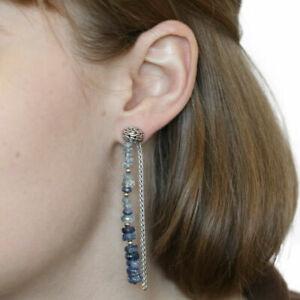 JOHN HARDY Classic chain silver 925 aquamarine kyanite drop dangle earrings $595