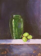 Oil Painting canvas 'Green and Purple' Classical Still Life Original. J Smith