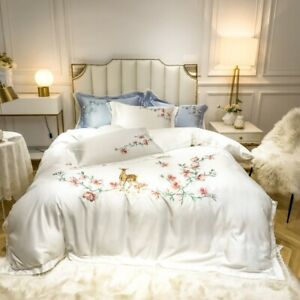 Luxury Embroidery Bedding Set Cotton Bed Linens  Queen/King Size Silk Bed Cover