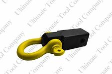 "Heavy Solid Yellow Shank Shackle 10k lb D-Ring 2"" Receiver Hitch Trailer"
