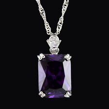 Pendant Rectangle Purple Amethyst 18K White Gold Plated CZ Free Necklace Chain