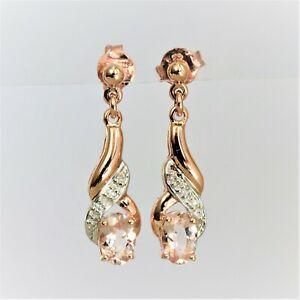 NATURAL MORGANITE EARRINGS GENUINE DIAMONDS 9K ROSE GOLD DROPS GIFT BOXED NEW