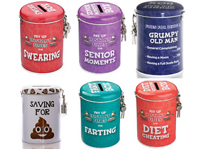 Novelty Fine Tins Fun Money Storage Lockable Piggy bank Savings Christmas Gift