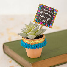Natural Life Do More of What Makes you Happy Garden Sign Succulent Desk Plant