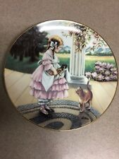 "Plate ""A Lap Full� Girl and Her Cats Art Painted"
