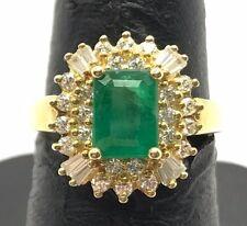 Sterling 925 Gold Tone Green Emerald Baguette CZ Cluster Burst Cocktail Ring 7