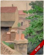 ROOFTOPS OF ST CLOUD WATERCOLOR PAINTING THOMAS ANSHUTZ ART REAL CANVAS PRINT