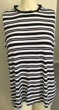Cato Ladies Plus 18/20W Sleeveless Blouse Navy Blue White Striped Tank Top EUC