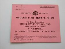 More details for lester pearson canada 1967 ticket to presentation freedom of city of london