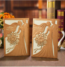 70x Personalized Laser Cut Printing Wedding Invitation Cards with Envelopes Seal