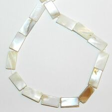 MP985f White Natural 14x6mm-15x7mm Flat Rectangle Mother of Pearl Shell Bead 15""