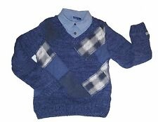 Naartjie boys blue knit sweater with collar/patches size xl 7 years - jean shirt