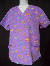 SB Scrubs Size M Medium Purple Scrub Top Dance Rhumba Tango