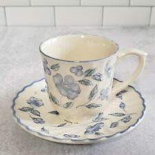 New BARRATTS England Tea Cup & Saucer Blue Flowers  BTTBTT7