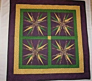 Finished Patchwork Quilt 16-Point Star Mariner's Split Compass Wall Quilt