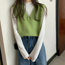 Womens Casual  Knitted Vest Tank Top Sweater Waistcoat Sleeveless V-neck