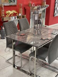 120x80cm Grey Marble Effect Glass Top Dining Table Set With 4 Chairs